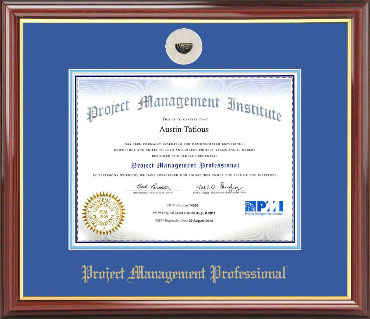 Pmp 174 Certificate Frame Mahogany With Royal Mat Amp Lapel Pin