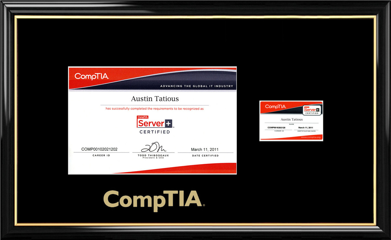 Comptia Certificate Frame Black With Black Mat Card