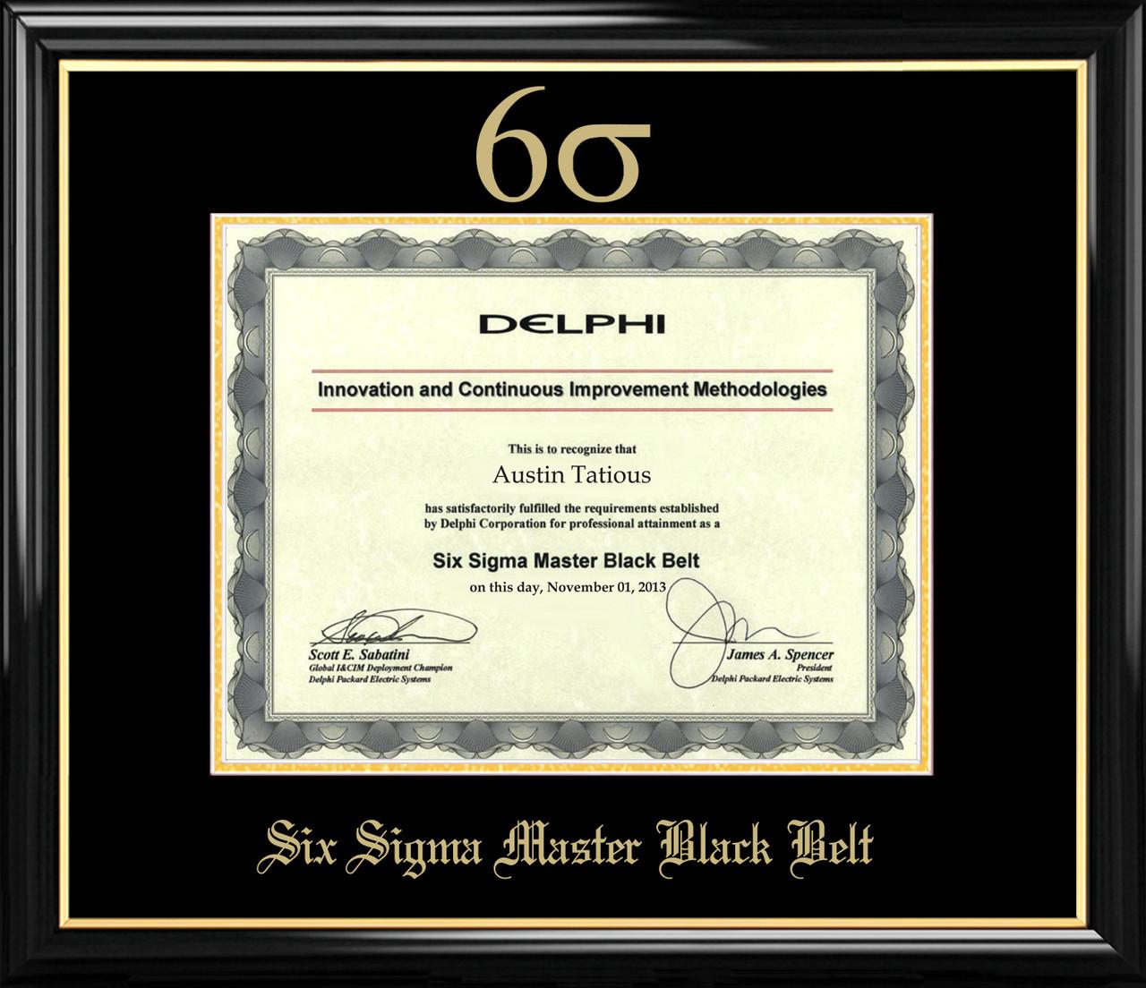 Six Sigma Master Black Belt Certificate Frame Black With Black Mat