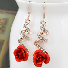 40047 EARRINGS RED ROSE