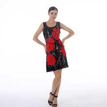 733 - RED FLOWER BLACK SEQUINS DRESS