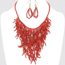 "• Style No : [236379] FN0109-GD-CNB-22"" + 3""L  • Color : Gold / Coral / Brown  • Necklace Size : 22"" + 3"" L  • Charm Size : 5"" L  • Earring Size : 2 1/2"" L  • Seed Bead  • Beaded Coral Reef Necklace  • Material : Lead compliant"