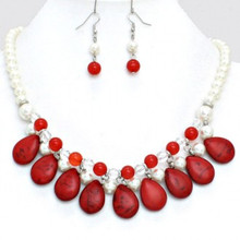 "• Style No : [220209] FN10145-R-COR-15"" + 3""L  • Color : Rhodium / Coral  • Necklace Size : 15"" + 3"" L  • Charm Size : 1 1/2"" L  • Earring Size : 1 3/4"" L  • Howlite Teardrop Pearl Lined Necklace"
