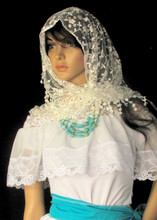 White lace embroidered handkerchief. with silver glitters.