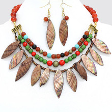"• Style No : [243439] FN1802-GB-RED-18"" + 3""L  • Color : Burnished Gold / Red / Green / Brown  • Necklace Size : 18"" + 3"" L  • Charm Size : 3"" L  • Earring Size : 3"" L  • Glossed Howlite / Abalone  • Glossed Abalone Shell Necklace  • Material : Lead compliant"