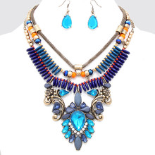 "• Style No : [247259] FN809-RG-BL-GY-18"" + 3""L  • Color : Russian Gold / Blue Zircon / Blue / Gray / Orange / Clear  • Necklace Size : 18"" + 3"" L  • Charm Size : 4"" L  • Earring Size : 1 1/2"" L  • Victorian Collar Necklace  • Material : Lead compliant"