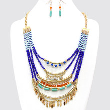 "• Style No : [243477] FN121158-G-BL-24"" + 3""L  • Color : Gold / Blue / Brown / Clear  • Necklace Size : 24"" + 3"" L  • Charm Size : 4"" L  • Earring Size : 1 1/2"" L  • Resin Enamel  • Ornate Gypsy Necklace  • Material : Lead compliant"