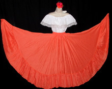 097 CIRCULAR BRIGHT ORANGE DANCE SKIRT