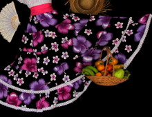 110 TROPICAL  PURPLE FLOWER SKIRT