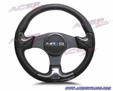 CARBON FIBER STEERING WHEEL 350mm Blk frame blk stitching w/ RUBBER COVER HORN BUTTON
