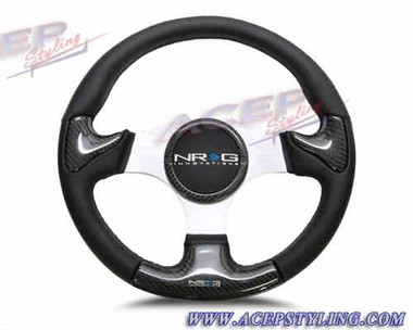 NRG CARBON FIBER STEERING WHEEL 350mm SILVER frame black stitching w/ RUBBER COVER HORN BUTTON