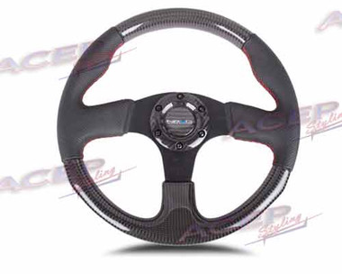 NRG CARBON FIBER STEERING WHEEL 315mm w/ RED STITCHING