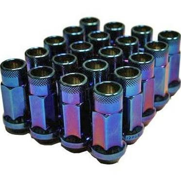 Muteki SR48 Open End Lug Nuts - Burning Blue Neon