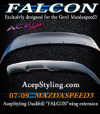Acepstyling Falcon spoiler extension fits mazdaspeed3 2007 2008 2009