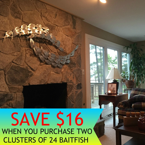 Poqueson Fireplace featuringth 48 Baitfish sculpture *THE PICTURE ABOVE FEATURES TWO SEPARATE CLUSTERS OF 24 BAITFISH. TOTAL FISH IN PICTURE IS 48 BAITFISH.  SAVE $16 WHEN YOU BUY THE TWO CLUSTERS TOGETHER!