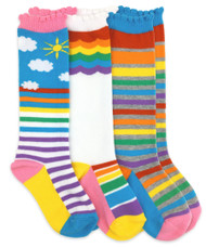 Kids Knee High Rainbow Socks (Sunshine Stripes, White with Rainbow and Rainbow Stripes).