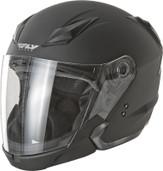 Fly Racing Tourist Solid Open Face Helmet XL Flat Black F73-8101-5