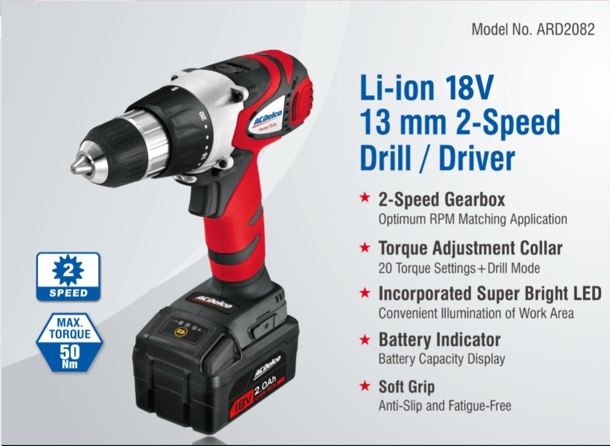Acdelco ARD2082 Li-lion 18 Volt cordless Drill - Ultra-tools