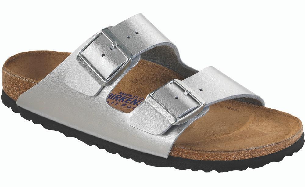 Footbed Silver Soft Birkenstock Arizona Birko Flor kZOPiuTX