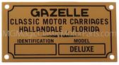 "Badge, Identification Plaque ""Classic Motor Carriages"" Gazelle"