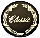 "Emblem, Classic, Crystal Cal (Glue on) Classic Wreath Logo 2 3/4"""