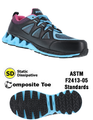 Woman's Black w/ Blue & Pink Athletic Oxford