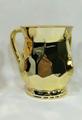 Metal Coated Acrylic Wash Cup, Hexagon design - Yellow Gold
