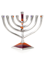 Lily Art Metal Menorah-- Diamond Design 9""