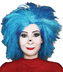 Thing 1 Thing 2 Wig Inspired Blue Dr Seuss Costume Book Week Wigs (Unisex) - by Allaura
