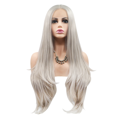 PEARL - Lace Front Lace Part Heat Resistant Long Grey Blonde Straight Wig - by Queenie Wigs