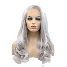 LINDSEY - Lace Front Wavy Silver Grey Wig - by Queenie Wigs