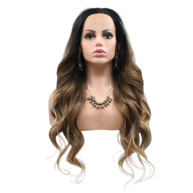 ANGELINA - Lace Front Long Wavy 3 Tone Brown Long Wig - by Queenie Wigs