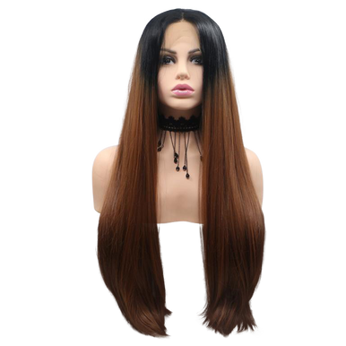 KATIE - Lace Front Long Straight Ombre Brown Wig - by Queenie Wigs