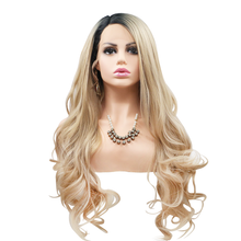 KOURTNEY - Lace Front Long Curly Ombre Blonde Wig - by Queenie Wigs