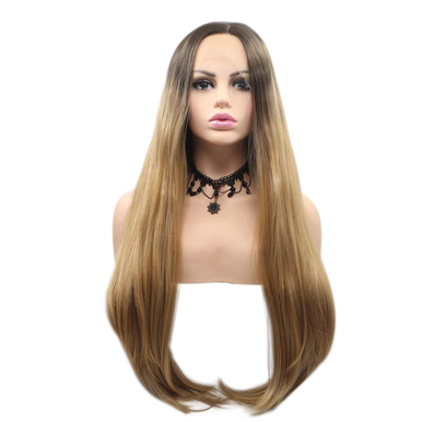 KENDALL- Lace Front Long Straight Layers Ombre Blonde Wig - by Queenie Wigs