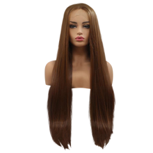 NATALIA - Lace Front Medium Brown Long Straight Wig - by Queenie Wigs