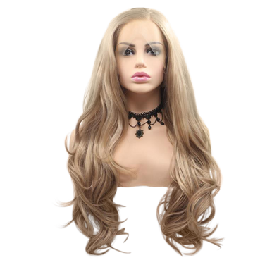 HANNA - Lace Front Long Wavy Ash Blonde Wig - by Queenie Wigs