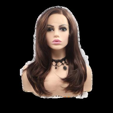 DANIELLA - Lace Front Medium Length Dark Brown Wavy Wig - by Queenie Wigs