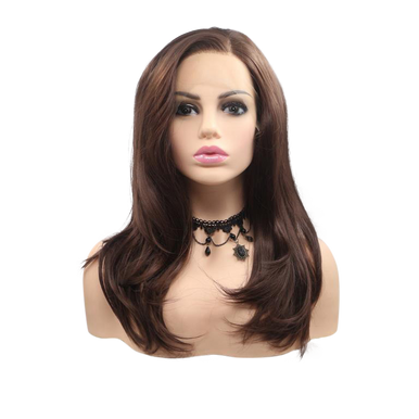 DANIELLA - Lace Front Medium Length Dark Brown Wavy Wig - by Queenie Wigs