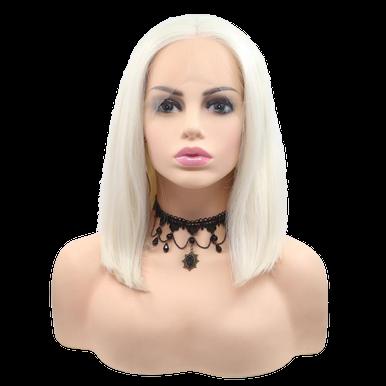 LUNA - Lace Front Platinum Blonde Blunt Bob Wig - by Queenie Wigs