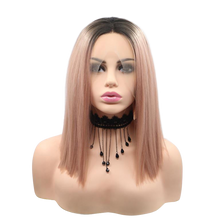 HARLOW - Lace Front Ombre Peach Blunt Bob Wig - by Queenie Wigs