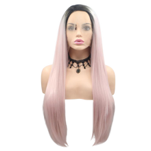 AIDEN - Lace Front Long Straight Ombre Pink Wig - by Queenie Wigs
