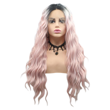 SHANNON - Lace Front Wavy Ombre Baby Pink Wig - by Queenie Wigs