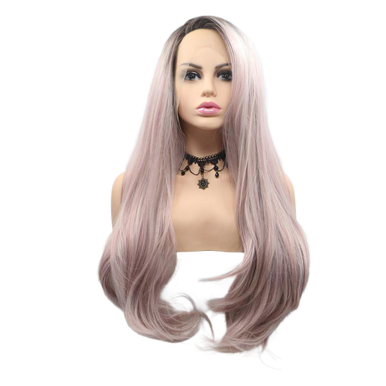 REBECCA - Lace Front Long Ombre Pink Wig - by Queenie Wigs