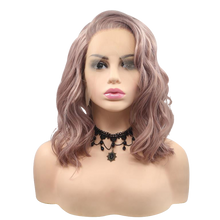 APRIL - Lace Front Short Wavy Dusty Pink Wig - by Queenie Wigs