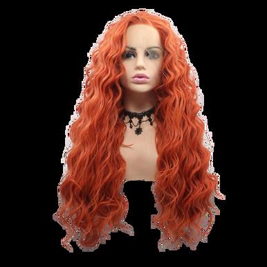 SIREN - Lace Front Long Spiral Curls Orange Wig - by Queenie Wigs