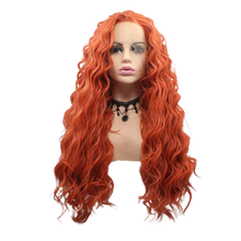 SIREN - Lace Front Long Spiral Curls Orange Wig - by Queenie Wigs
