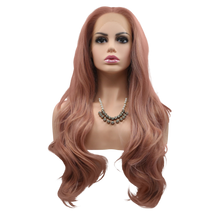 EMMA - Lace Front Long Wavy Dusty Pink Wig - by Queenie Wigs