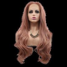 EMMA - Lace Front Long Wavy Dusty Pink Wig - by Queenie Wigs
