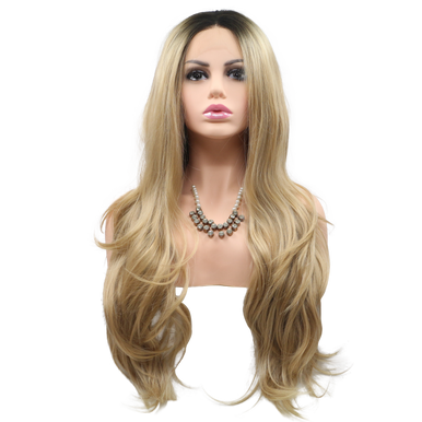 OLIVIA - Lace Front Long Wavy Ombre Blonde Wig - by Queenie Wigs